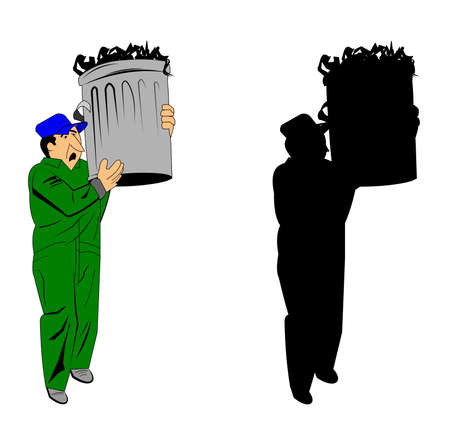 garbage man carrying trash can Vectores
