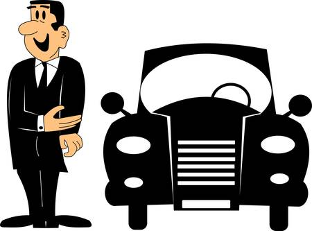 retro autoverkoper cartoon