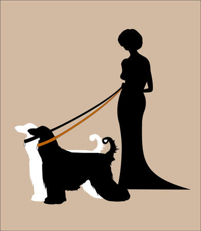 femme: lady in gown with her two afghans on leads silhouette