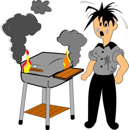 scorched: bbq gone bad  over white Illustration