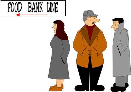 poor man: food bank line in todays society Illustration