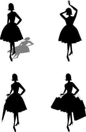 ladies in silhouette with assorted objects Ilustração