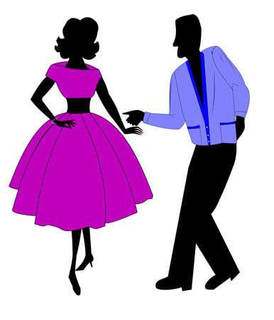 tiener dansers uit jaren vijftig