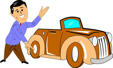 car salesman with brand new car cartoon over white