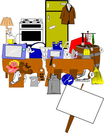 yard and garage sale  Stock Illustratie