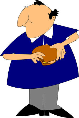 heart attack: obese man eating burger over white