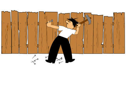 father fixing fence in backyard Stock Illustratie