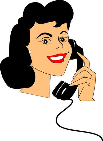 calling art: happy lady on rotary phone