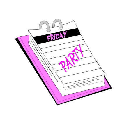 notepad with reminder for friday night party Stock Photo