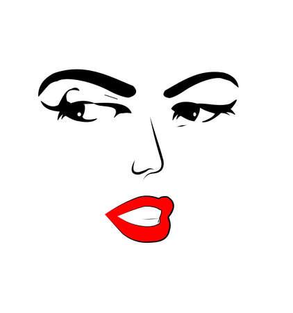 alluring female face sketch over white