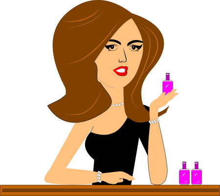 over the counter: cosmetic saleslady over white