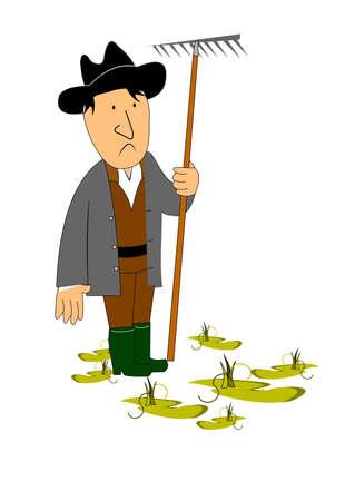 sad farmer in field of ruined crops