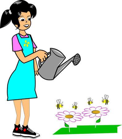 happy gardener watering her flowers  Vector