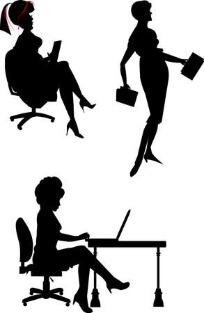 woman laptop: female office workers in silhouette Illustration