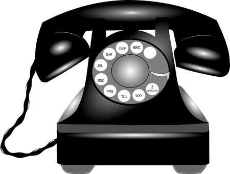 rotary telephone over white Stock Photo