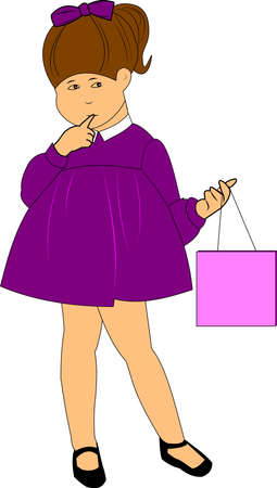 lil girl holding bag  Ilustração