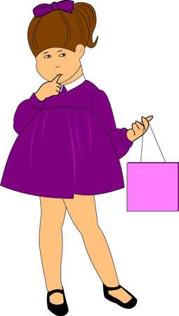 coy: lil girl holding bag  Illustration