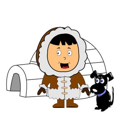 eskimo met iglo en zijn hond