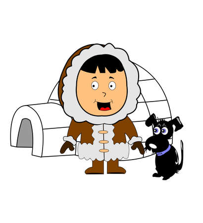 eskimo with igloo and his dog Vector