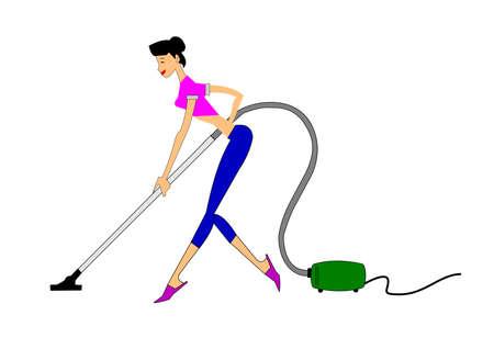 pulizia pavimenti: madre vacumming giovane