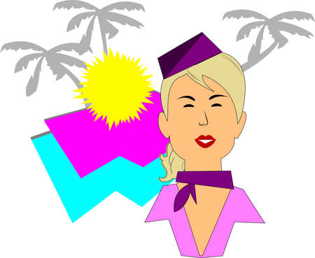 stewardess with vacation theme in retro style Stock Vector - 15330355