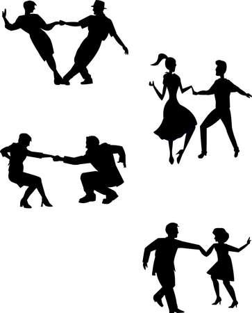 denken slingeren dansers in silhouet