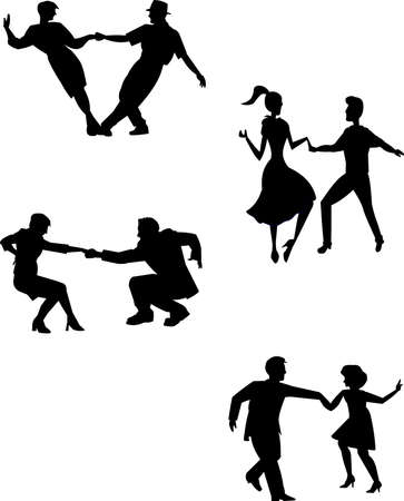 happy couple: think swing dancers in silhouette