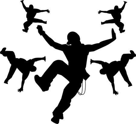 adolescent: hip hop dancers silhouette