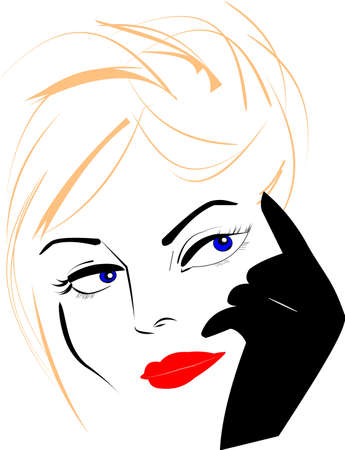lady sketch  over white  Vector