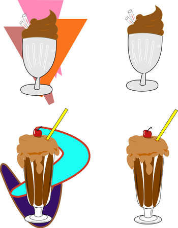 retro shakes in 2 styles of backgrounds Illustration