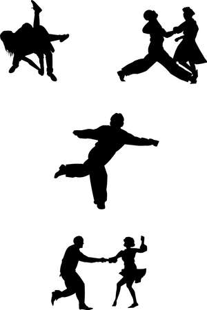 swing dansers uit de jaren vijftig Stock Illustratie