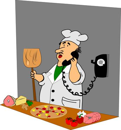 plate of food: pizza man in kitchen  on phone Illustration