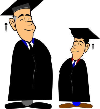 achiever: father and son grads over white Illustration