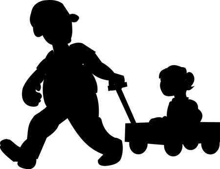 father pulling daughter in wagon silhouette Vector