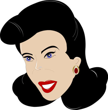 classic fifties lady over white  Ilustracja