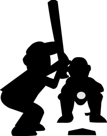BASEBALL KID AT PLATE IN SILHOUETTE Stock Vector - 15414426