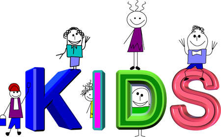 kids in 3d Vector
