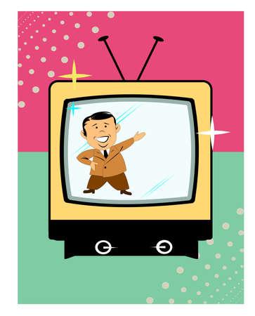 tv presenter on retro television over white Stock Vector - 15633644