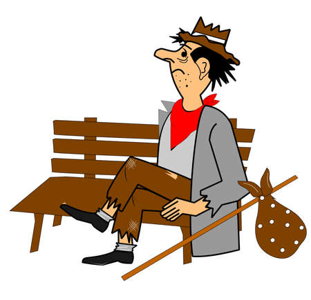 homeless man on park bench  Vector