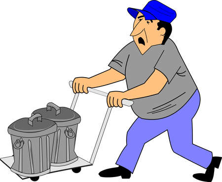 grumble: unhappy man taking garbage to curb on dolly