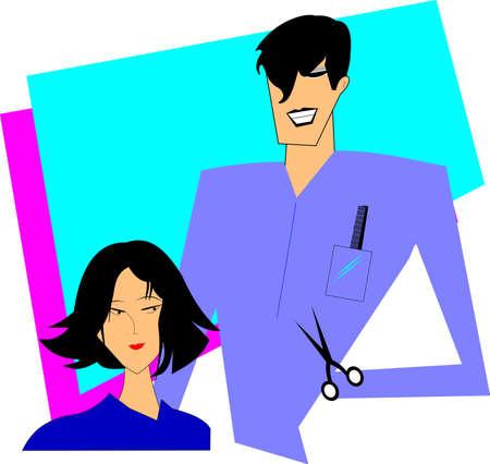 haircut: lady getting a haircut in salon  Illustration