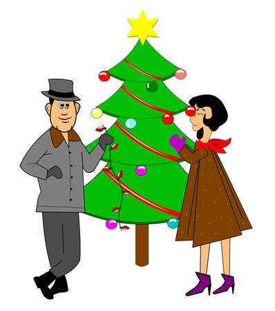 DECORATING CHRISTMAS TREE RETRO STYLE Stock Vector - 15803911