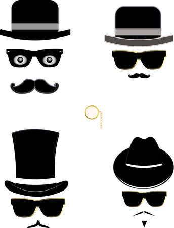 mannen in hoeden shilhouettes Stock Illustratie