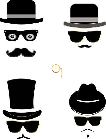 fedora hat: men in hats shilhouettes  Illustration