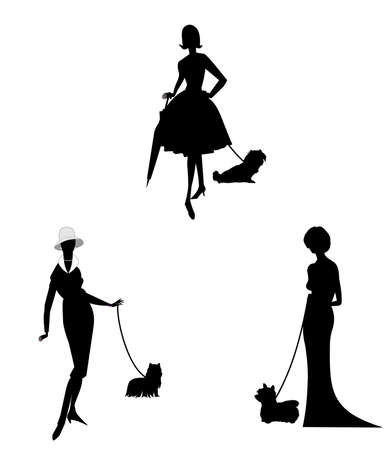 lap dog: elegant ladies with their dogs in silhouette
