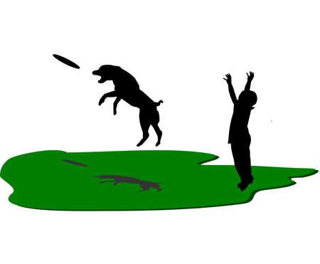 threw: boy and dog playing frisbee
