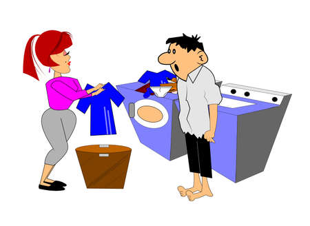 clean home: couple washing clothes  Illustration