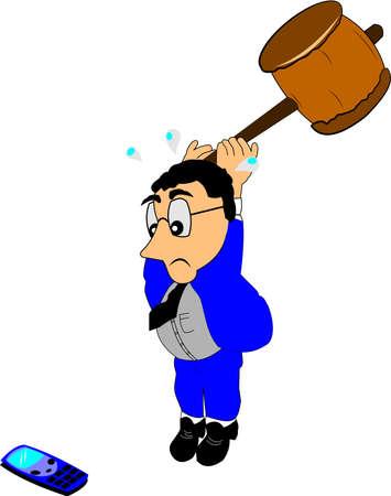 man on cell phone: hombre enojado golpeando su tel�fono celular con un enorme martillo