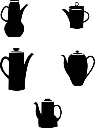 coffee pots in silhouette over white  Vector