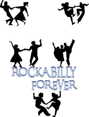60s: rockabilly dancers concept in silhouette Illustration
